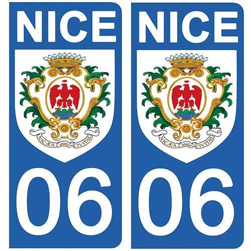 DECO-IDEES – Lote de 2 Adhesivos para Placa de matrícula, 06 Escudo de Niza Fondo Blanco: Amazon.es: Coche y moto
