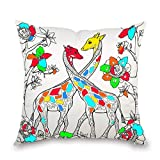 JES&MEDIS Giraffe Pattern DIY Graffiti Pillowcase Home Decorations Craft Kit Coloring Pillow Cover Square 18' x 18'Inch