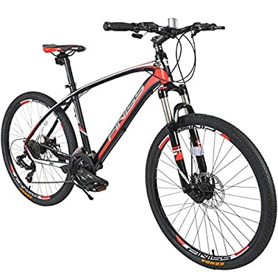 """Merax 26"""" Aluminum 24-Speed Mountain Bike with Disc Brakes Lightweight Bicycle (Black&Red)"""