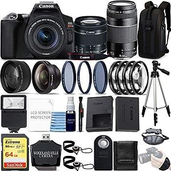 Canon EOS Rebel SL3 4K DSLR Camera  Black  with EF-S 18-55mm is STM and EF 75-300mm f/4-5.6 III Lens Kit 64GB Ultimate Travel Bundle