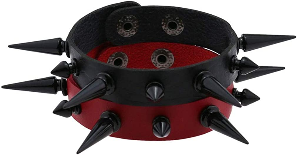FM FM42 Women Multicolor PU Simulated Leather Black-Tone Long and Short Rivets Spike Spiked Punk Gothic Adjustable Bracelet, Pack of 2