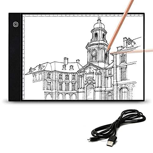 Cskunxia caisson lumineux A4 à luminosité réglable, panneau lumineux à LED avec câble USB pour peinture au diamant, dessin de lumière, animation de croquis X-RAY
