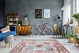 One Couture Alfombra Diseño Vintage Oriental Patrón Salón Crema Rojo - 160cm x 230cm