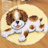 Beyond Your Thoughts 6 Modell Hund Knüpfteppich Formteppich für Kinder und Erwachsene zum Selber Knüpfen Teppich Latch Hook Kit Child Rug Dog123 50 by 50 cm