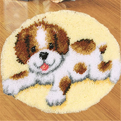 Beyond Your Thoughts DIY Latch Hook Kit rug Making Crafts for Kids/Adults 20 inch X 20 inch Dog123