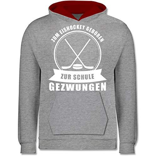 Sport Kind - Zum Eishockey geboren. Zur Schule gezwungen - 128 (7/8 Jahre) - Grau meliert/Rot - Eishockey Pullover Kinder - JH003K - Kinder Kontrast Hoodie