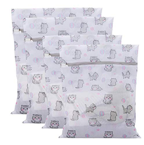 PRETTYGAGA Mesh Laundry Bags for Delicates with Premium Zipper, Travel Storage Organize Bag, Clothing Washing Bags for Laundry, Blouse, Bra, Dress, T-shirt, Stocking, Lingerie, jeans-Pack of 4