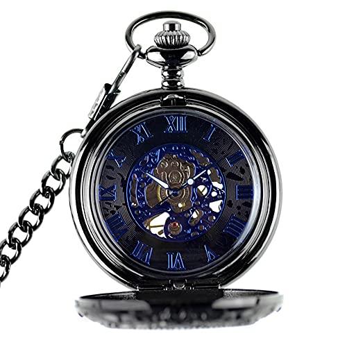 WHSW Reloj de Bolsillo para Hombre con Cadena, Reloj de Bolsillo de Cuarzo de Madera, Reloj Colgante de Madera de ébano, Reloj Colgante de Bolsillo de Bronce Antiguo con Cadena para Llavero, negr