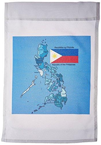3dRose FL_114186_1 Flagge und Landkarte der Republik Philippinen mit Allen Regionen farbige und beschriftete Gartenflagge, 30,5 x 45,7 cm