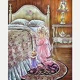 Cruz para adultos Kits de punto puesta Osito de peluche, rezando,lienzo preimpreso 11CT Bordado de kit de punto de cruz de arte DIY,regalo principiantes para la decoración del hogar,40x50cm