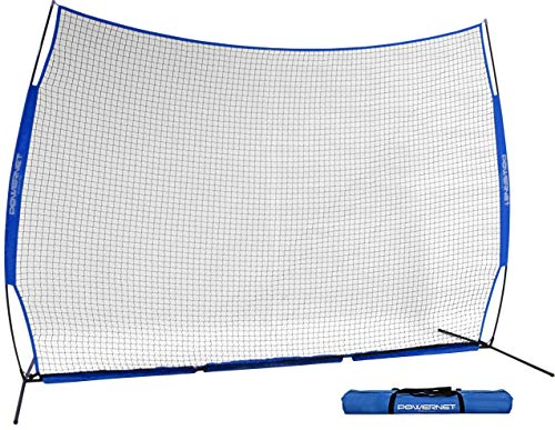 PowerNet 12 ft x 9 ft Sports Barrier Net | 108 SqFt of Protection | Safety Backstop | Portable EZ Setup Barricade for Baseball, Lacrosse, Basketball, Soccer, Field Hockey, Softball (Royal Blue)