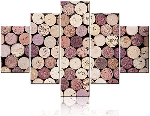 HNSYZS 5 Paneles de Impresiones en Lienzo Tapón de Vino de Varias Casas de Corcho de Botella de Vino Retro de Cocina Decoracion de Pared para dormitorios Modernos