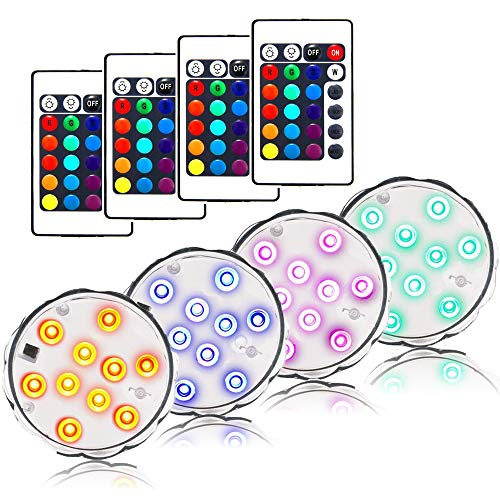AomeTech 4 X Waterproof light Battery Powered Wireless Multi Color Submersible LED Light strobe uplight with IR Remote for Aquarium, Party, Pool, Fountain,Wedding, stage, Vase, bathtub, Christmas
