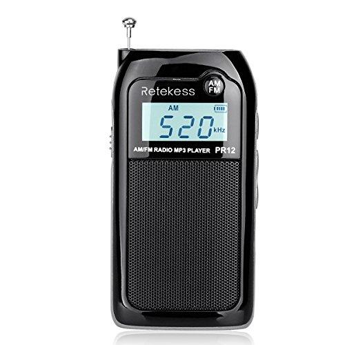 Retekess PR12 Radio de Bolsillo, Mini Radio Portátil Pequeña FM Am, Ajuste DSP, Excelente Recepción, Sonido, Soporte Tarjeta TF, Batería Recargable, para Caminar, Viajar (Negro)
