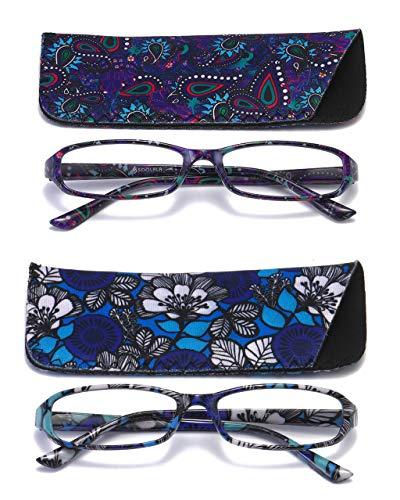 SOOLALA 2-Pair Designer Fashionable Spring Hinge Rectangular Reading Glasses w/Matching Pouch, BluePurple, 1.0