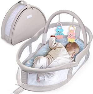KNDJSPR Baby Snuggle Nest  Foldable Newborn Lounger Bassinet  Infant Travel Backpack Bed  Portable Sleeper Nap Seat  with Breathable Cover for 0-10 Months  Gray