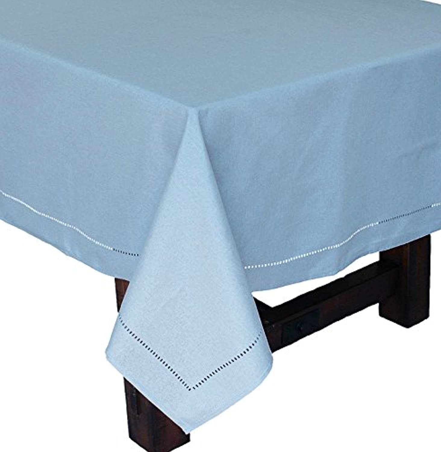 Xia Home Fashions Melpink Easy Care Cutwork Hemstitch 70 by 104-Inch Tablecloth, Teal