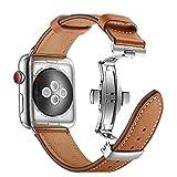 Aottom Compatible con Correas Apple Watch 44mm 42mm, Correa Reloj Cuero Apple Watch 6 44mm, Pulsera Apple Watch 5 Piel Banda Reemplazo Pulseras de repuesto iWatch Correa con Apple Watch SE 6 5 4 3 2 1