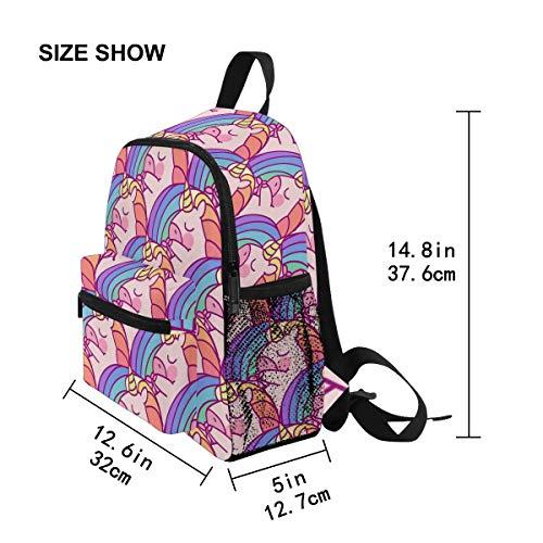 Chic Houses Cute Pink Unicorn Element Mini Casual Packback Fairy Tale Q Version Cartoon for Kids Toddler Bookbag School Bag for 3-8 Years Old Boys Girls Kids Preschool Backpack 2030487