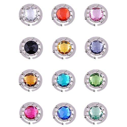 Ganchos para monedero, 12 piezas de cristal de diamante plegable para colgar...