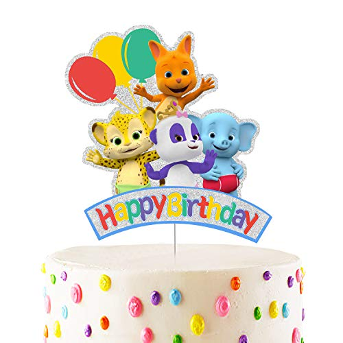 Word Party Cake Topper - Happy Birthday Cartoon Cake Decoraitons for Children's Birthday Baby Shower Party Supplies (Cake Topper)