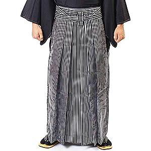 [オオキニ] 袴 男性 馬乗り 縞 黒 銀 卒業式 成人式 正装 メンズ (Sサイズ)