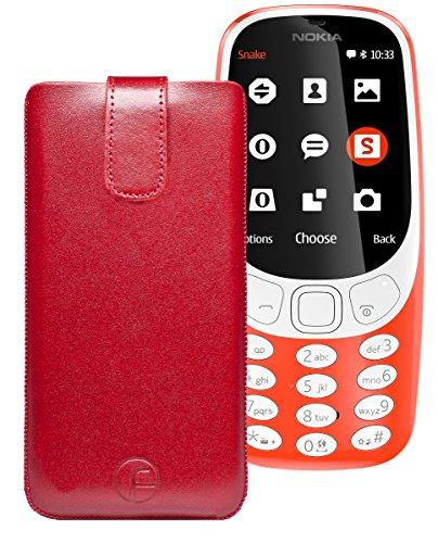 Original Favory Etui Tasche für Nokia 3310 (2017) | Leder Etui Handytasche Ledertasche Schutzhülle Hülle Hülle Lasche mit Rückzugfunktion* in rot
