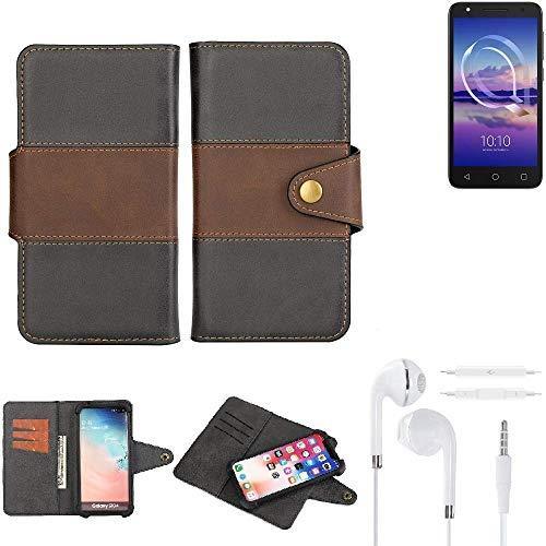 K-S-Trade® Handy-Hülle Schutz-Hülle Bookstyle Wallet-Case Für -Alcatel U5 HD Single SIM- + Earphones Bumper R&umschutz Schwarz-braun 1x