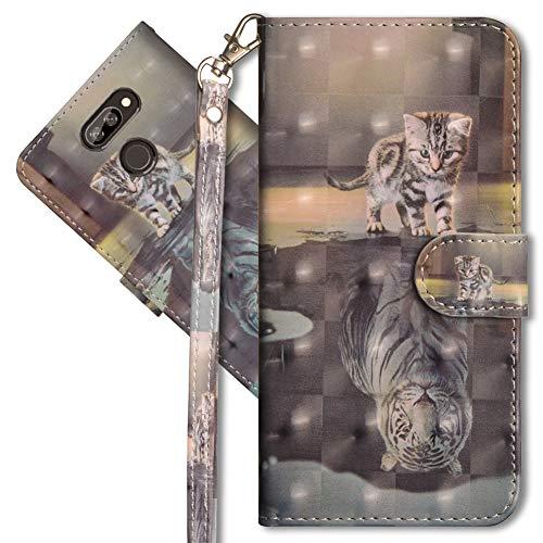 MRSTER LG K40s Handytasche, Leder Schutzhülle Brieftasche Hülle Flip Hülle 3D Muster Cover mit Kartenfach Magnet Tasche Handyhüllen für LG K40s. YX 3D Cat Tiger