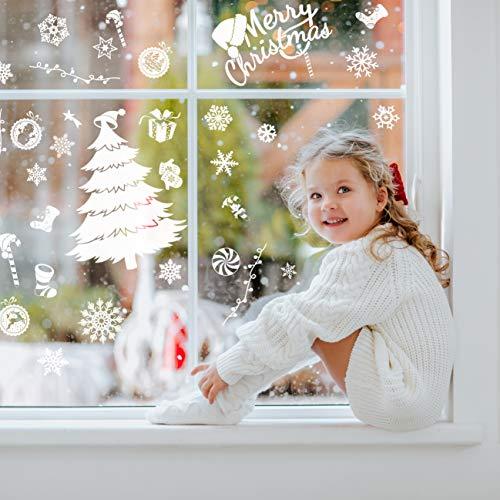 240 Stück Frohe Weihnachten Schneeflocken Selbstklebende Fensterbilder| Wasserdichtes, Wiederverwendbar, Statisches PVC Weihnachtsdekor| Weihnachtsaufkleber Fenster für Hause Büro Geschäft Café.