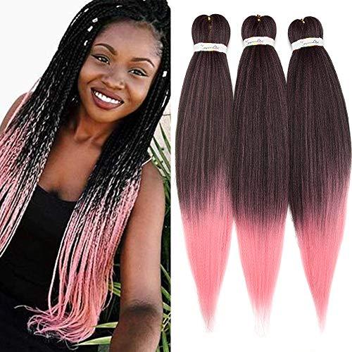 SEGO Extension per Treccine Africane Afro Capelli Sintetici Ricci Treccia Finta Donna Bambina 3 Ciocche Lunghe 65cm Braids Braiding Hair Intrecciati Crochet 270g - Nero/Rosa