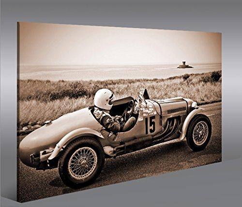 islandburner Quadro Moderno Auto da Corsa Macchina da Corsa di Seppia Vintage Classic Oldie Stampa su Tela - Quadro x poltrone Salotto Cucina mobili Ufficio casa - Fotografica Formato XXL Quadri