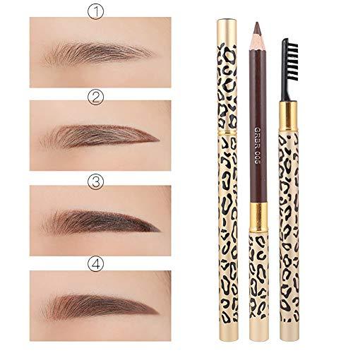 2 à 1 Crayon à Sourcils et Eyeliner Liner Crayon à sourcils Pen avec brosse imprimé léopard cosmétique de maquillage outil pour une utilisation quotidienne - Brown
