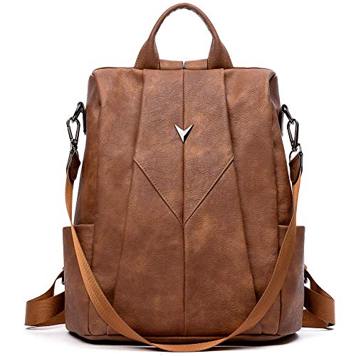 WESTBRONCO Leder Rucksack für Damen Anti Diebstahl Rucksack Handtasche 2 in 1 Schultertasche Daypacks Braun
