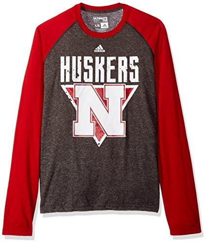 NCAA Nebraska Cornhuskers para hombre color Splat, Ultimate L/S RAGLAN teecolor Splat, Ultimate L/S…