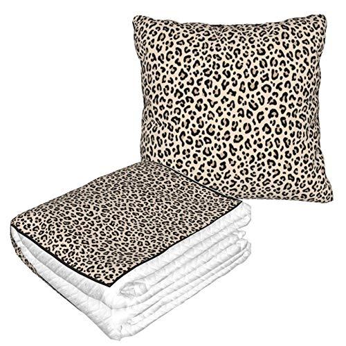 DJNGN Negro Blanco Leopardo Estampado de Leopardo cálido Suave Plegable viajó 2 en 1 Manta y Almohada para el hogar, Oficina, airp, Almohada para el hogar, Oficina, avión, Camping, Viajes en automóvi