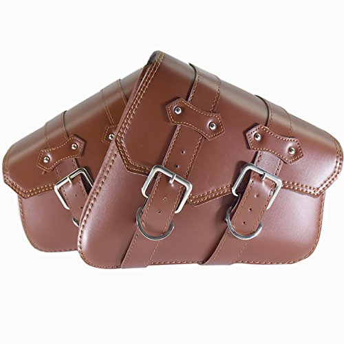 Motorcycle Saddle Bags PU Leather Side Tool Luggage Bag 2pcs for Harley Sportster XL 883 1200(Brown)