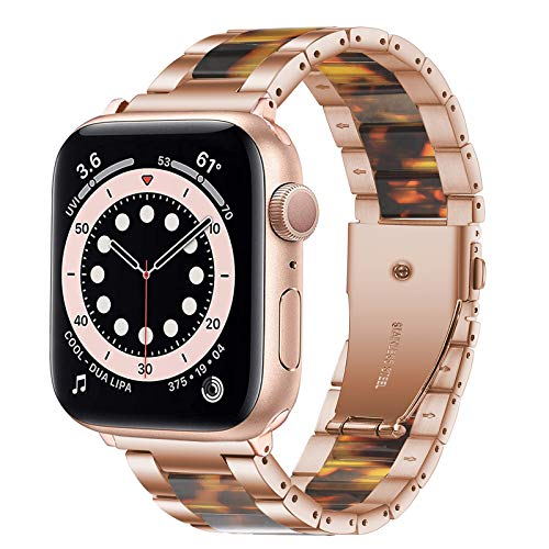 Omter Band Compatible with Apple Watch 38mm 40mm, Resin Stainless Steel Metal Link Wristbands for iWatch SE Series 6 5 4 3 2 1 (Rose Gold+Tortoise-Tone, 38mm/40mm)