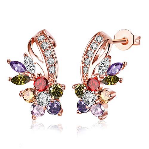 Lv.unique Collar de Mujer Collar con Colgante de circón de Oro Rosa Pendientes de Flores de Colores chapados en Oro/Pendientes delicados para Regalos de Mujer (Flower Earrings)