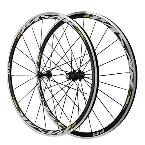 ZCXBHD Ruedas de Bicicleta de Carretera de Aleación de Doble Pared 700C Llantas De Aleación Liberación Rápida Freno C/V Ruedas de Ciclismo 7 8 9 10 11 12 Velocidad (Color : Gold-1, Size : 700C)