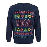 Marvel Logo Weihnachtspullover (XL) (Blau)