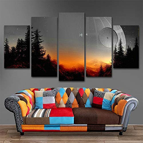 Afeige Modulare Leinwandbilder Wandkunst 5 Stücke Baum Todesstern Malerei Wohnzimmer Drucke Movie Poster Wohnkultur Sschlafzimmer Küche Hd Dekorative Leinwand-Einschließlich Rahmen