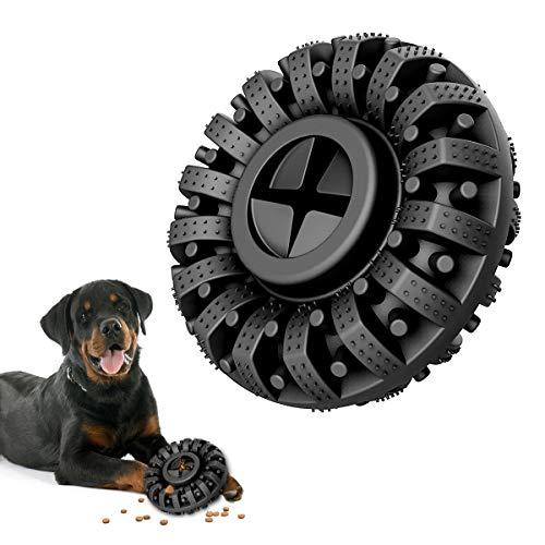 Lewondr Dauerhaft Kauspielzeug Hund, Ungiftig Kautschuk Zahnreinigung Gummi Kauartikel Bewegung Hundespielzeug, Interaktives Füttern Spielzeug Zahnpflege für Mittelgroße und Große Hunde - Schwarz