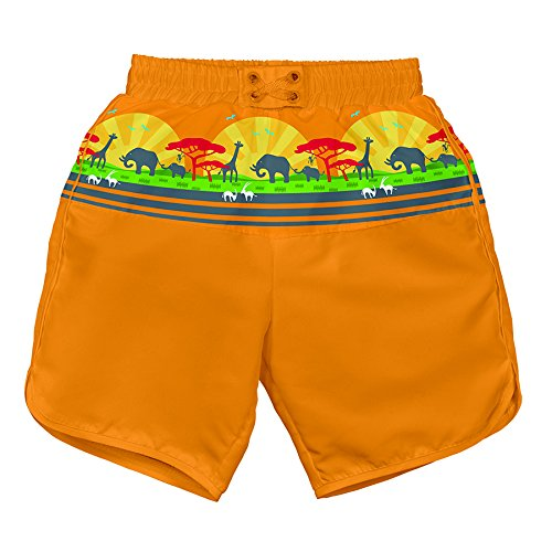 LÄSSIG Baby Badehose Board Shorts UV-Schutz 50+, Orange Safari Sunset S