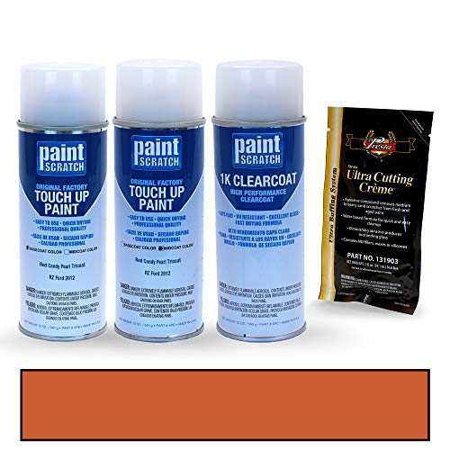 PAINTSCRATCH Touch Up Paint Tricoat Spray Can Car Scratch Repair Kit - Compatible with Ford Edge Red Candy Pearl Tricoat (Color Code: RZ)