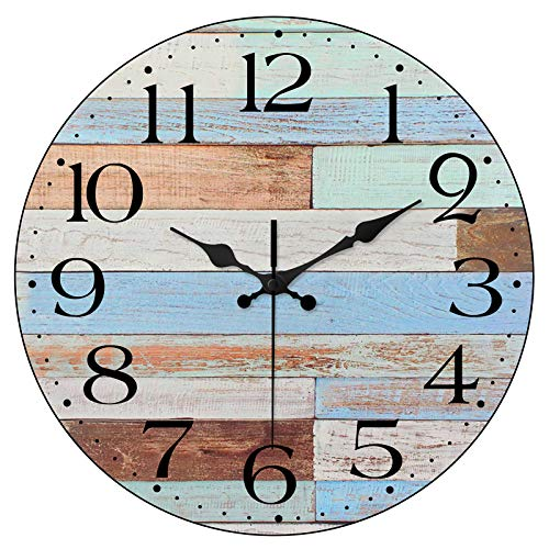 LAMIKO Non-Ticking Silent Wall Clocks 12 Inch Battery Operated Vintage Coastal Quartz Decro Clock Easy to Read for Room Home Kitchen Bedroom Office School Worn Blue