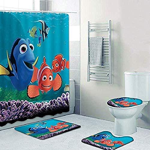 Juego de 4 Cortinas de Ducha con tapete, Funda de Inodoro, Almohada con Forma y tapete de baño Nemo Dory Ocean Cartoon Cortina de Ducha de poliéster Impermeable