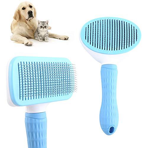 Cepillos para Perros y Gatos Autolimpiante Cepillos de Aseo para Mascotas para Perros de y Gatos Quitar el Exceso y Muerto de Pelo, No rascará la Piel 2 Pcs