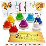 Juego de 8 campanas de escritorio de color – Libro de canciones con partituras fáciles de música, tarjetas de notas musicales – pegatinas de colores