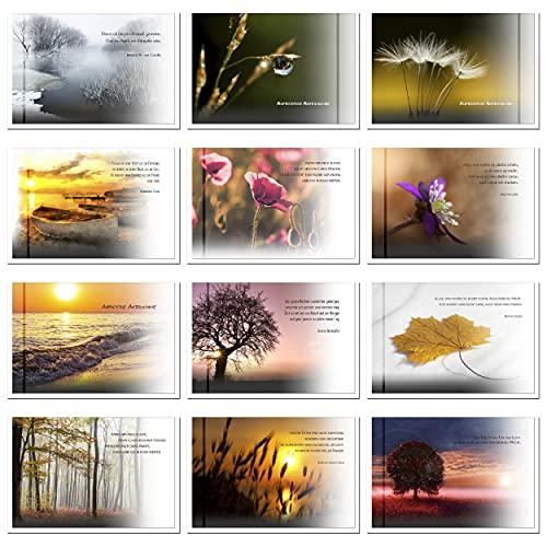 12 wunderschöne, einzigartige Trauerkarten Beileidskarten Kondolenzkarten für höchste Ansprüche im Set